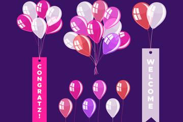 9款彩色气球和气球束矢量图