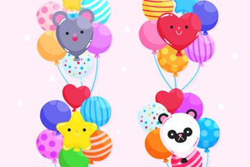 4款卡通表情节日气球束矢量图