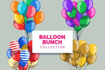 4款创意气球束设计矢量素材
