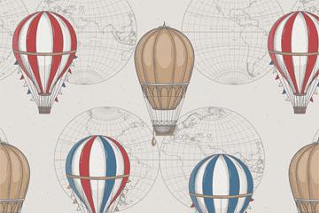 复古手绘热气球无缝背景矢量图