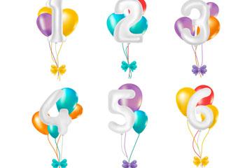 6款彩色数字气球束矢量素材