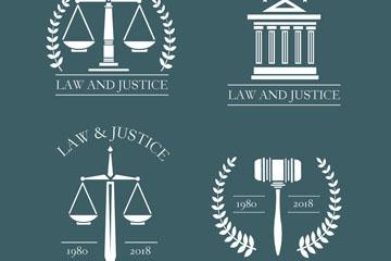 4款白色法律元素标志设计矢量图