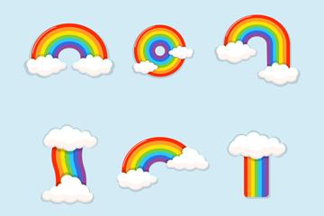 6款彩色云朵彩虹矢量素材