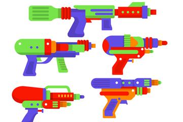6款彩色夏季水枪矢量素材
