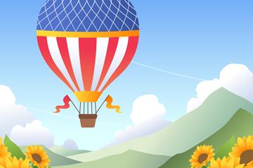 创意向日葵花海上的热气球矢量图