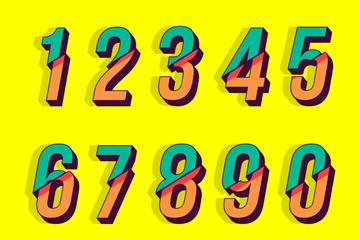 10款彩色切断的数字设计矢量图