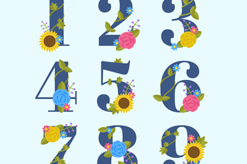 9款彩色花卉数字艺术字矢量图