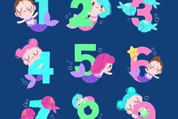 9款卡通美人鱼装饰数字矢量素材