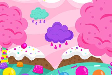 彩色糖果世界设计矢量素材