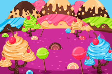 卡通糖果世界设计矢量图