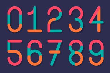 16款创意拼色数字和符号矢量素材