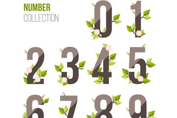 9款创意花卉树叶装饰玻璃质感数字矢量图