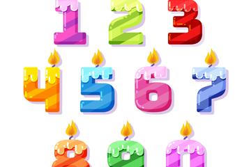 10款创意花纹数字蜡烛矢量素材