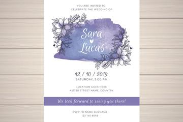 手绘花卉单页婚礼邀请卡矢量素材