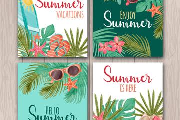 4款彩绘夏季度假卡片矢量素材