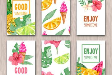 6款彩绘夏季花草水果卡片矢量图