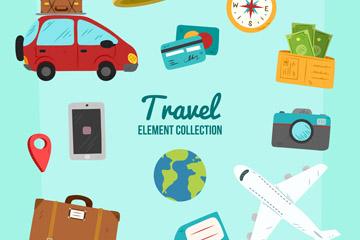 12款创意旅行元素矢量素材