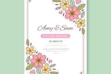 可爱花卉婚礼邀请卡矢量素材