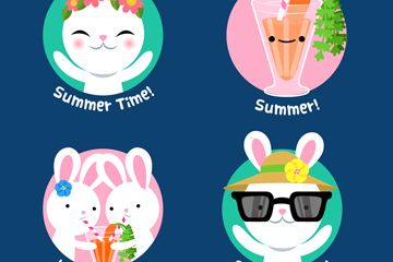 4款创意夏季白兔标签矢量素材