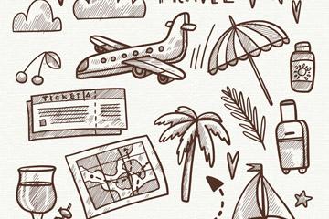 16款创意假期旅行元素矢量素材