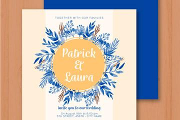 蓝色手绘花卉婚礼邀请卡矢量素材