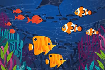 彩色海底热带鱼群风景矢量素材