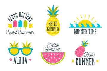 9款彩色你好夏季标签矢量图