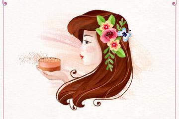 彩绘长发女子侧脸矢量素材