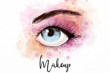 彩绘化妆的单只眼睛矢量素材
