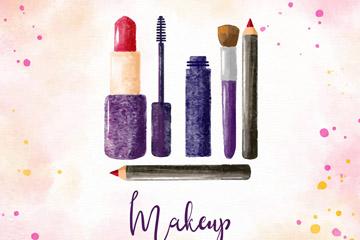 5款彩绘化妆品设计矢量图