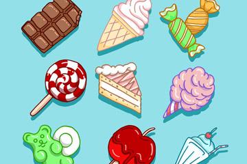 9款彩绘甜食设计矢量素材