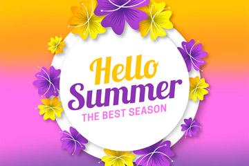 彩色你好夏季扶桑花标签矢量图