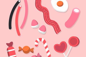 14款粉色糖果矢量素材