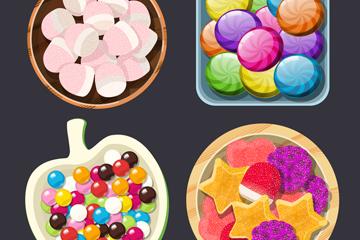 4组彩色盘装糖果俯视图矢量素材