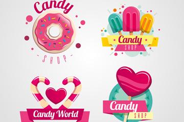 4款彩色糖果店标志设计矢量图