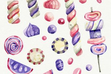 24款紫色和粉色糖果矢量图