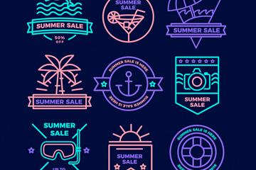 9款荧光色夏季销售标签矢量图
