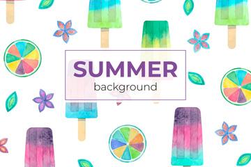 彩绘夏季雪糕无缝背景矢量图