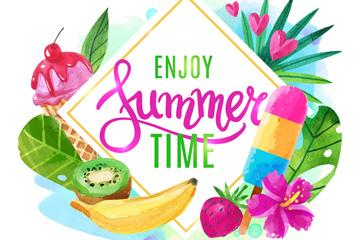彩绘享受夏季时光艺术字矢量素材