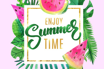 创意享受夏季时光艺术字矢量图