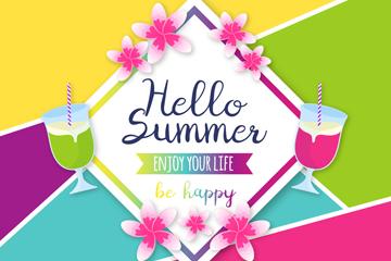 彩色鸡蛋花和鸡尾酒装饰夏季艺术字矢量图