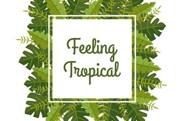 扁平化绿色热带树叶框架矢量图