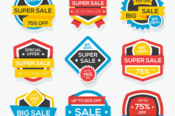 9款彩色特价促销标签矢量图