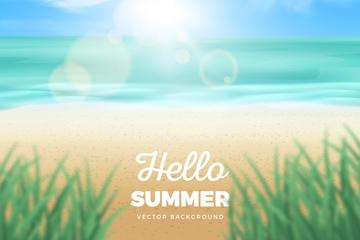 创意你好夏季沙滩大海模糊风景矢量图
