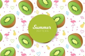 创意夏季猕猴桃无缝背景矢量图