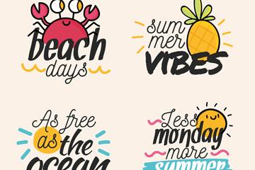4款彩色夏季语言艺术字矢量图