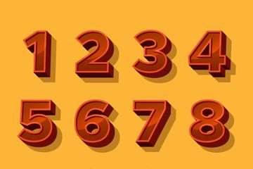 10款红色立体数字矢量素材