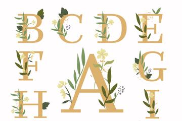 13款彩色花卉装饰大写字母矢量图