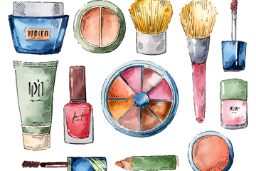 12款彩绘美妆产品矢量素材