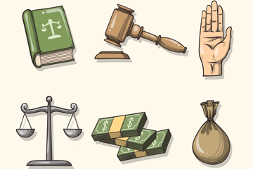 6款手绘法律元素设计矢量图